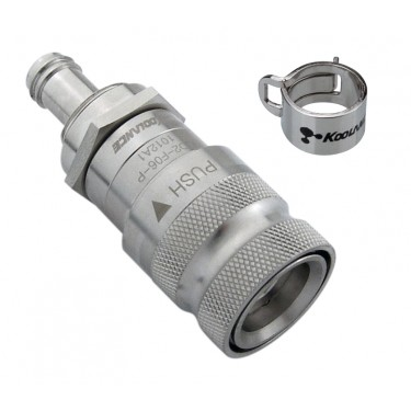 QD2 Female Quick Disconnect No-Spill Coupling, Panel Barb for 06mm (1/4in)
