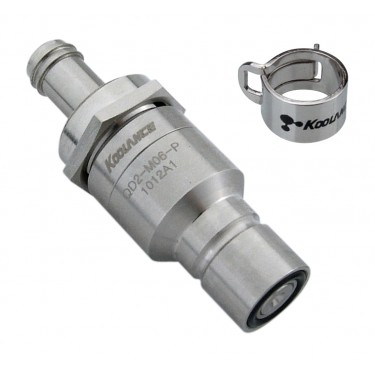 QD2 Male Quick Disconnect No-Spill Coupling, Panel Barb for ID 06mm (1/4in)